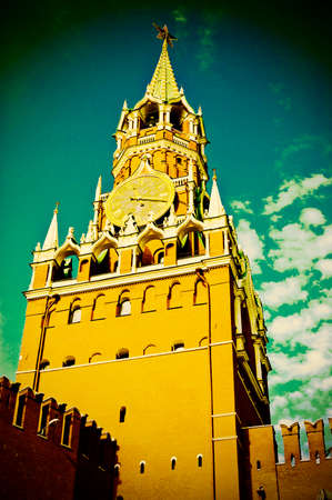 View of the Spassky tower with chime from the Red Square. Retro style