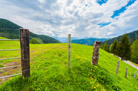 Pasture fenced with barbed wire in the Austrian alps on the background of snow-capped peaks. Stock Photo