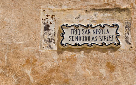 Street sign in the city of Mdina that was founded as Maleth in around the 8th century BC by Phoenician settlers on the island of Malta. 写真素材