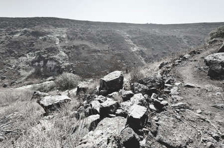 Gamla nature reserve located in the Golan Heights in Israel. View of the archaeological sites. Black and white photo Stockfoto