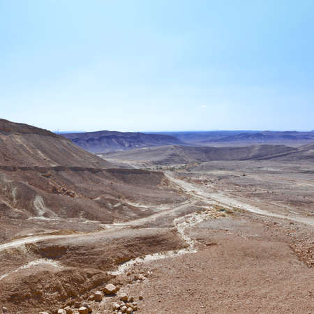 Rocky hills of the Negev Desert in Israel. Breathtaking landscape and nature of the Middle East. Imagens