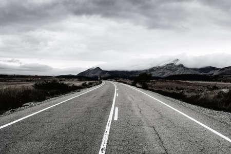 Winding asphalt road of Europe Peaks in Spain early morning Zdjęcie Seryjne