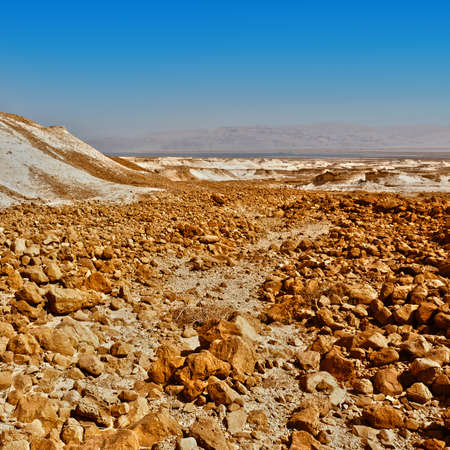 Rocky hills of the Negev Desert in Israel. Breathtaking landscape of the desert rock formations in the Southern Israel Desert.