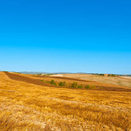 Stubble fields on the hills of Tuscany. Tuscany landscape after harvest. Banco de Imagens