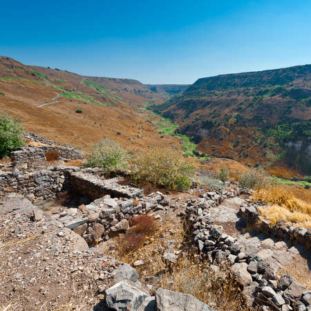 Gamla nature reserve located in the Golan Heights in Israel. View of the archaeological sites
