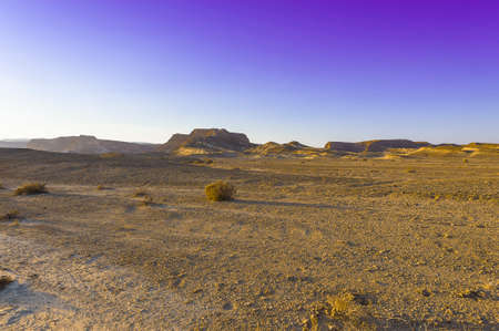 Desolate infinity of the Rocky hills of the Negev Desert in Israel. Breathtaking landscape and nature of the Middle East. Imagens