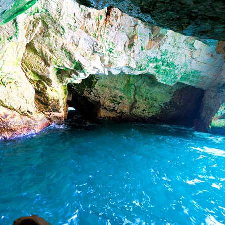 Rosh Hanikra Cliff near Israeli- Lebanese Border. Underground caves of Rosh HaNikra with sea water at the northern point of Israeli coast. Stock Photo