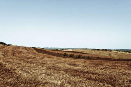 Stubble fields on the hills of Tuscany. Tuscany landscape after harvest. Vintage style toned picture Reklamní fotografie