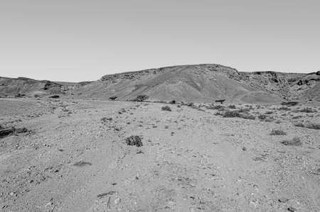 Breathtaking landscape of the rock formations in the Israel desert in black and white. Lifeless and desolate scene as a concept of loneliness, hopelessness and depression.
