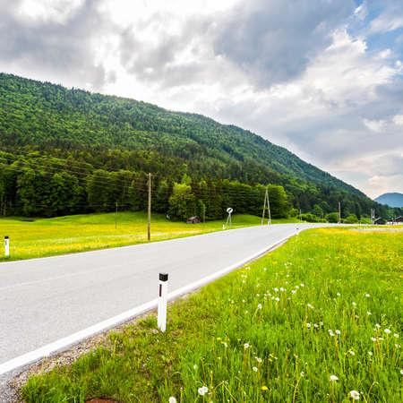 Asphalt road in austrian landscape with forests, fields, pastures and meadows on the background of snow-capped Alps