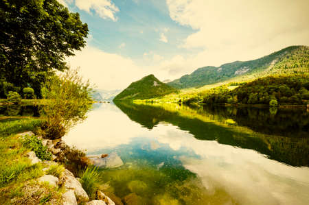 Austrian landscape with forests, meadows, fields and pastures surrounding the lake Grunlsee on the background of Alps. Vintage style 免版税图像