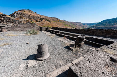 Gamla nature reserve located in the Golan Heights in Israel. View of the archaeological sites and remains of the synagogue, is one of the oldest ever discovered in Israel.