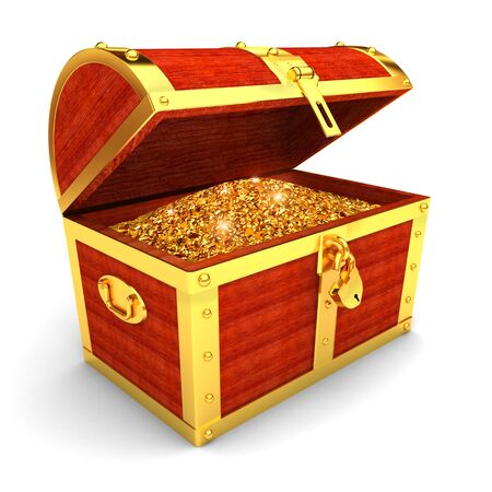 coffer: Wooden chest with gold coins  Stock Photo