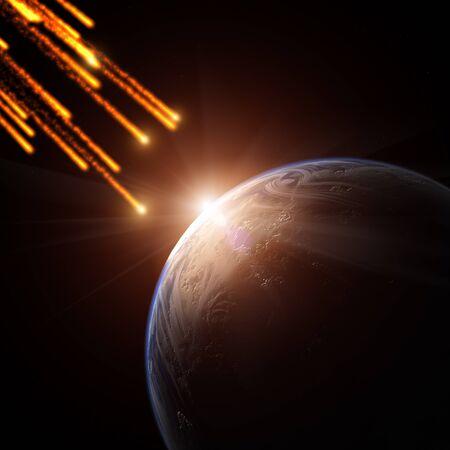 meteor: Meteoritenschauer auf einem Planeten