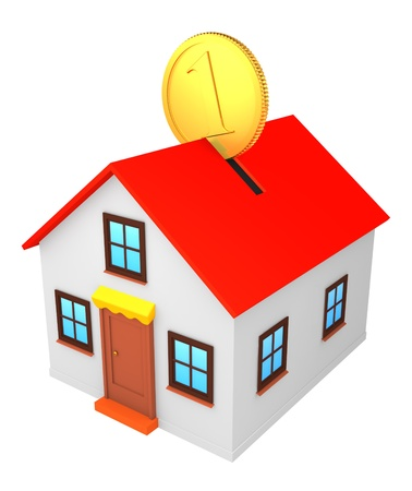 Model of house and coin Stock Photo - 9781608