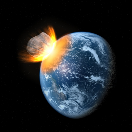 Collision of an asteroid with the Earth  photo