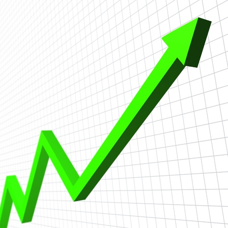 rise rising: Green arrow moving up Stock Photo