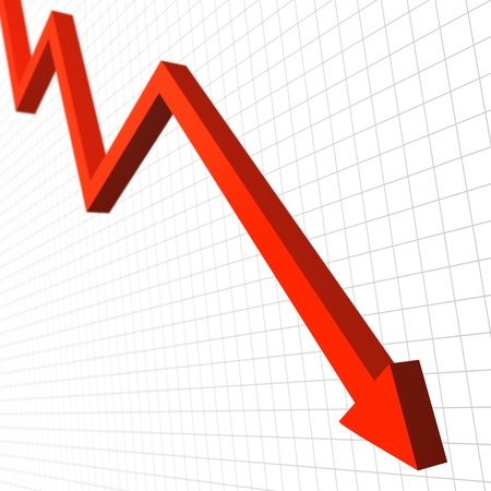 line graph: Red arrow moving down Stock Photo