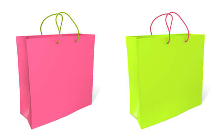 grocery trade: Empty shopping bag on white background  Stock Photo