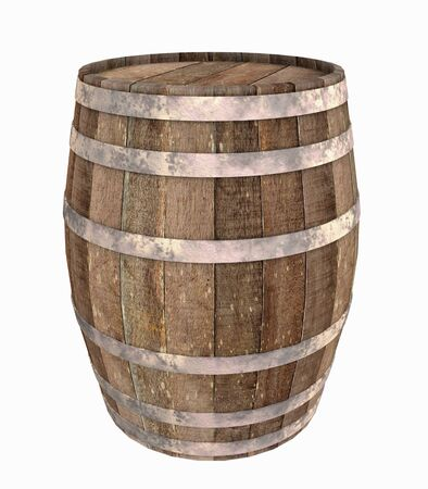 old container: Old wooden barrel - isolated on white background