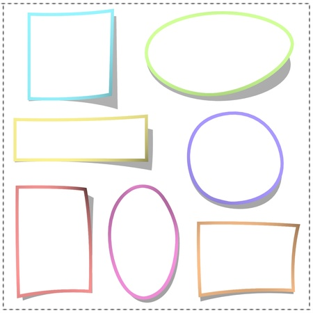 Set of white sticker with color border  photo