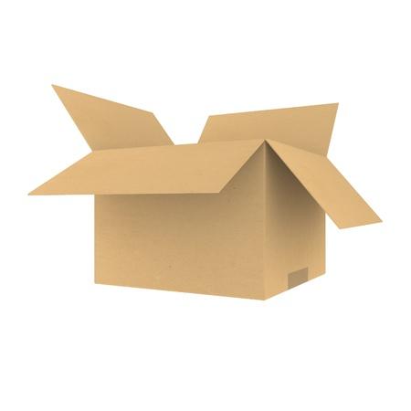 cajas de carton: Caja de cart�n abierta Foto de archivo