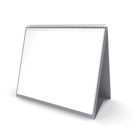 calendario escritorio: calendario de escritorio en blanco con espacio de copia de texto, aislado en fondo blanco