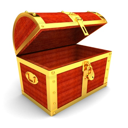 storage boxes: Wooden treasure chest  Stock Photo