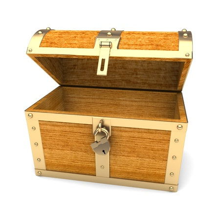 cherry wood: Wooden treasure chest  Stock Photo