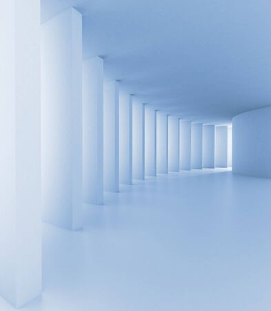 Abstract hallway in blue tone