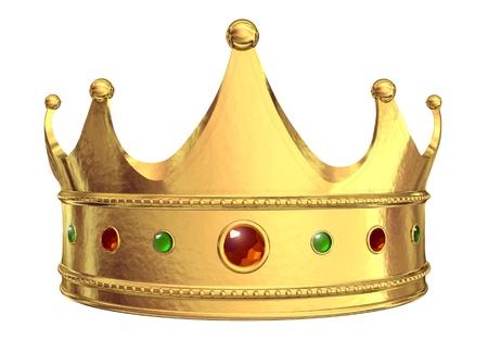 corona reina: Corona de oro aislada sobre fondo blanco  Foto de archivo