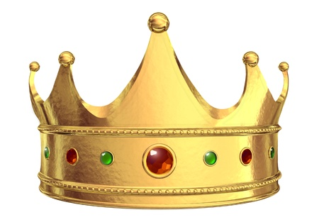 jewel: Golden crown isolated on white background