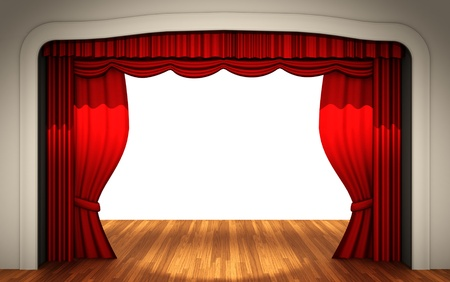 Stage with open curtain  photo