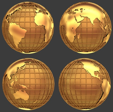 globe grid: Stylized golden globe of the Earth with a grid of meridians and parallels