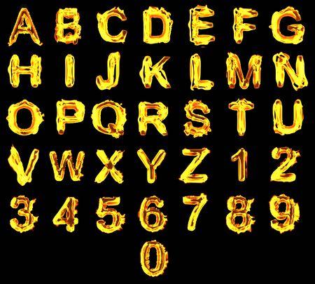 quemadura: Alfabeto de fuego sobre fondo negro