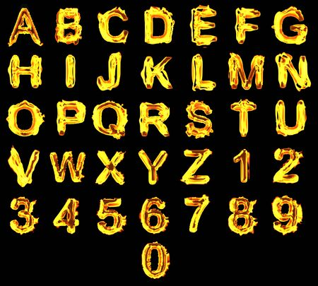 burn: Fire alphabet on black background