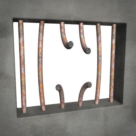Broken prison window