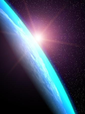 sol naciente: Los rayos del sol desde el sol naciente iluminan el planeta