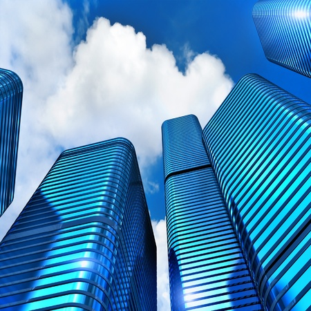 3d Modern office buildings on the clouds sky  photo