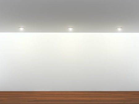 art gallery: Illuminated gray wall