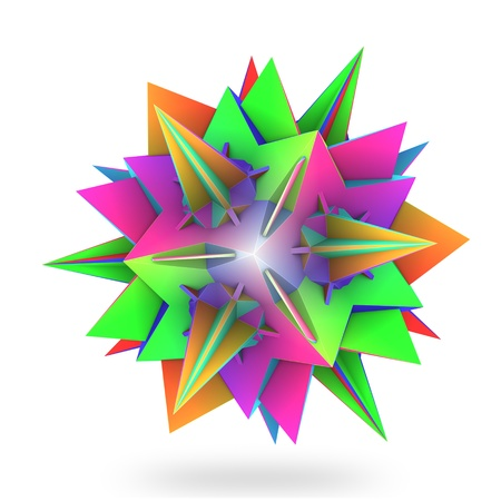 Colorful hedra star on white backdrop