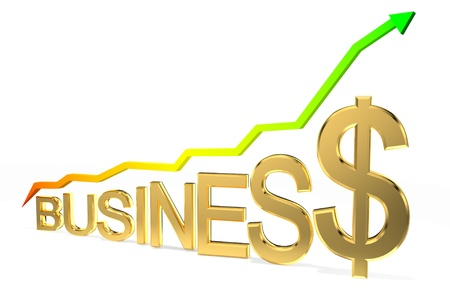Arrow sign pointing up with business word  photo