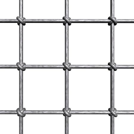 strafgefangene: Metallic Gittern - isoliert auf wei�em Hintergrund