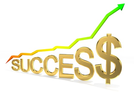 Arrow sign pointing up with success word  photo