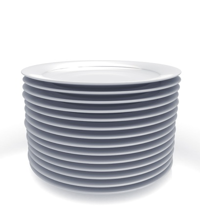 wash dishes: Stack of plates  Stock Photo