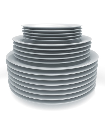 plates: Stack of plates  Stock Photo