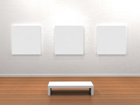 art gallery: Cornice vuota in una stanza contro un muro bianco Archivio Fotografico