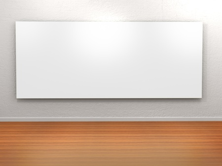 art gallery: Empty frame in a room against a white wall