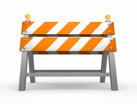 traffic barricade: Road barrier - isolated on white background Stock Photo