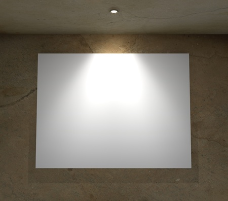 3d Empty frame on wall photo